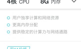 阿里云通用独享型云服务器4核8G双十一优惠价3330元/年